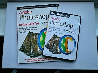 ADOBE PHOTOSHOP WORKING WITH TEXT PC/MAC CD-ROM Focus Guide And Book (Issue 9) • 5£