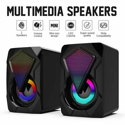 PC Surround Sound System LED Speakers Gaming Deep Bass USB PC Desktop Computer • 11.69£