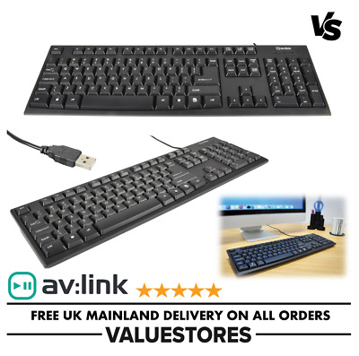Slim USB Wired Keyboard UK Layout For PC Desktop MAC Home & Office Computer NEW • 5.99£