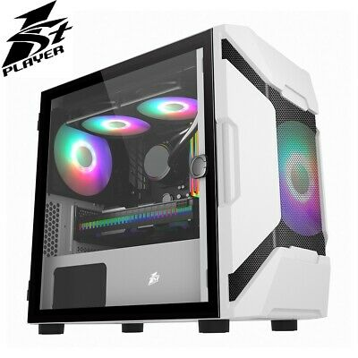 1st Player DK D3-A White Micro ATX Case With RGB Fans Tempered Glass Side USB 3 • 49.99£