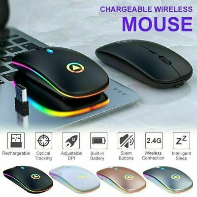 2.4GHz Wireless Optical Mouse Mice USB Rechargeable LED For PC Laptop Notebook • 6.39£
