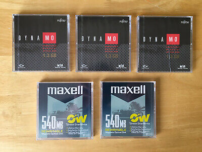 3 X Fujitsu Dynamo 1.3GB Re Writable Magneto Optical MO Disks + 2 X Maxell 540MB • 24.99£