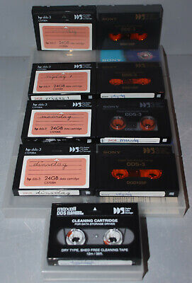 8 X DDS DAT Tapes / DDS-3 Data Cartridges - Sony, HP + Maxwell Cleaning Tape • 9.99£