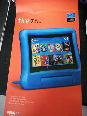 Fire 7 Kids Edition Tablet 7  Display, 16 GB, Blue Kid-Proof Case - NEW • 60£