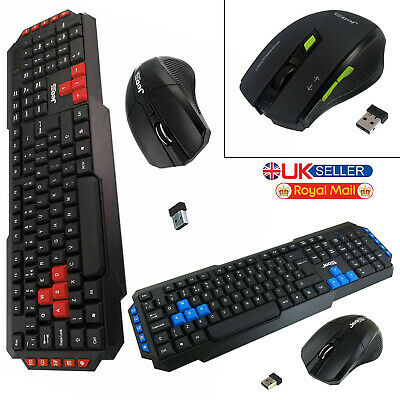 JEDEL 2.4Ghz Wireless Gaming Keyboard And Optical Mouse Set Combo For PC Laptop • 12.99£