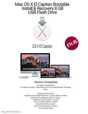 Mac OS X El Capitan Bootable Install & Recovery 8 GB USB Flash Drive • 14.95£