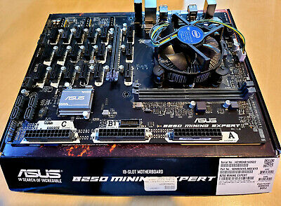 19x PCIe Asus B250 MINING EXPERT Motherboard Bundle With Intel Processor • 235£