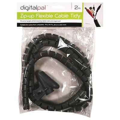 2 Metre Flexible Cable Wire Tidy 2m Ideal For Home Office Computer Tv Spiral New • 2.88£