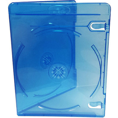 25x Genuine River Blue Double Slim Blu-ray Case 11mm Spine - Cover Face On Face • 11.45£
