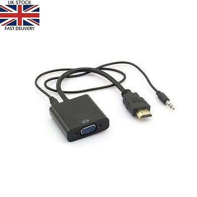 HDMI To VGA AUDIO Adapter Cable Converter For PC Laptop Monitor TV HD 1080p • 5.89£