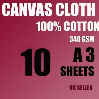 10 A3 Canvas Cotton Sheets 340 Gsm For Artist, Painting, Inkjet White ,not Paper • 14.96£