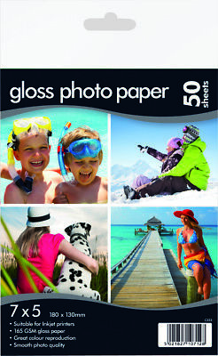 7 X 5  Photo Gloss Paper 160gsm - Suitable For Inkjet Printer 50 Sheets • 3.99£