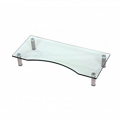 Glass Monitor PC TV Stand Riser Adjustable Height Desk • 15.99£