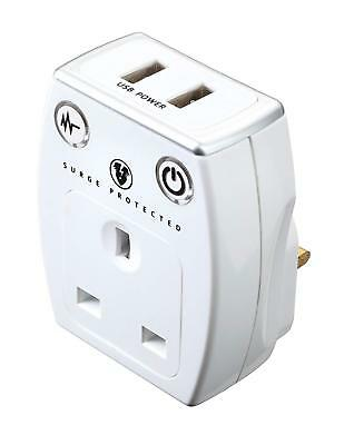 Masterplug SRGAUSBPW USB 3.1a Charger Surge Protected Mains Socket Adaptor White • 12.50£