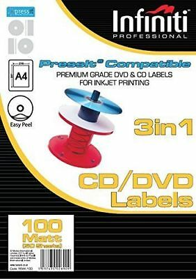 Infiniti A4 Matt CD Label (100) Preminum Quality Labels 50 Sheets - 100 Labels • 5.99£