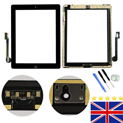 Screen Digitizer For IPad 3rd/4th Gen Touch Replacement Black + Button +Adhesive • 11.99£