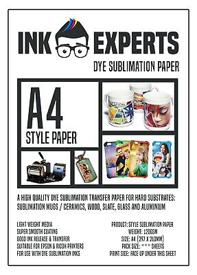 A4 Style 120g Sublimation Heat Transfer Paper 100 Sheet For Hard Substrate • 9.95£