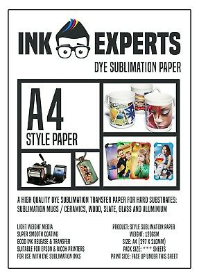 A4 Subli-Style 120g Sublimation Heat Transfer Paper 100 Sheet For Hard Substrate • 9.95£