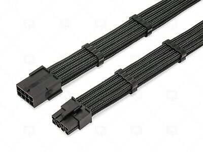 8 Pin GPU, 8Pin PCI-E Black PET Sleeved Extension Cable 30cm 2 Black Cable Combs • 8.49£