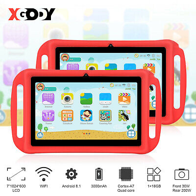 XGODY Kids Tablet PC Android 8.1 Dual Cam 1+16GB IPS Bluetooth WiFi 1024x600 HD • 55.88£