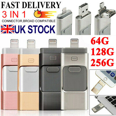 USB I Flash Drive Disk Storage Memory Stick For IPhone IPad PC IOS Android 256GB • 9.79£