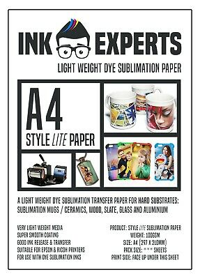 A4 Subli-Style LITE 100g Sublimation Transfer Paper 100 Sheets For Mugs Metal • 8.95£