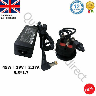 GENUINE Acer Laptop Charger Adapter  A13-045N2A 19V2.37A 45W 5.5x1.7mm + UK CORD • 12.95£