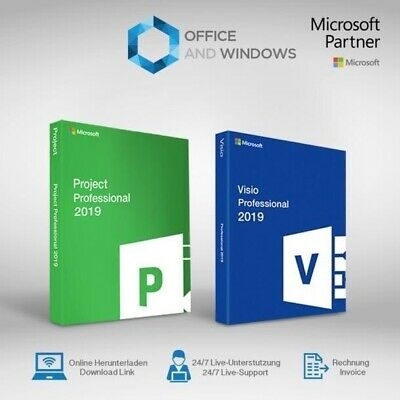 MS Microsoft Project 2019 Professional And MS Visio 2019 Pro FOR 1 PC GENUINE • 9.99£