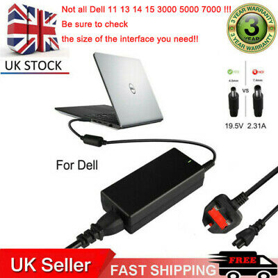 45W Laptop AC Adapter Charger For Dell Inspiron 11 13 14 15 3000 5000 7000 Serie • 10.49£