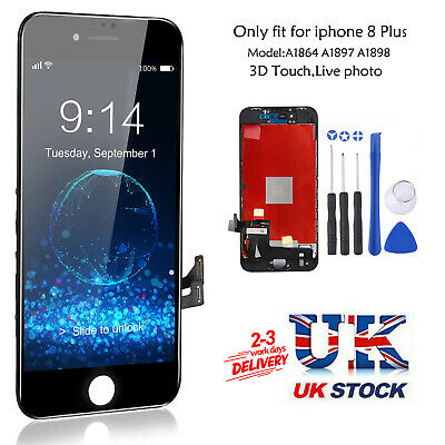 For IPhone 8 PLUS Black LCD Screen Replacement Touch Digitizer OEM IC Assembly • 26.99£