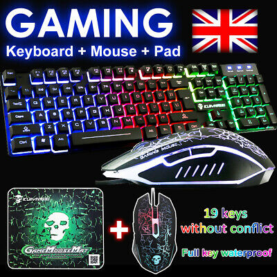 Keyboard And Mouse Set PC PS4 PS3 Xbox One T6 Gaming Rainbow Backlit Mechanical • 16.99£