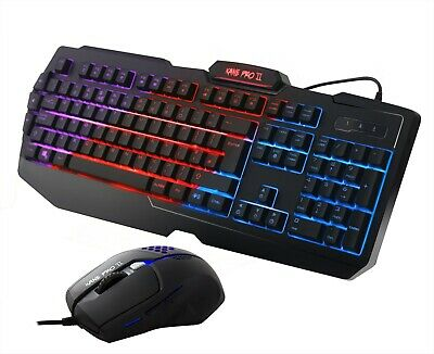 Gaming Keyboard And Mouse Set Bundle USB  3 Color LED For PC Laptop Xbox One PS4 • 19.99£