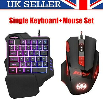 USB Keyboard And Mouse Set Anti-slip Wheel For PC PS4 Xbox One 360 Gaming Black • 23.69£