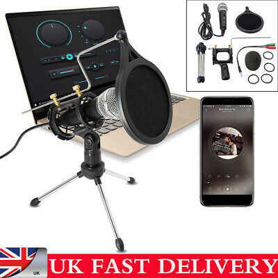 Studio Condenser Microphone Recording Broadcasting Podcast MIC W/ Stand For PC • 11.99£