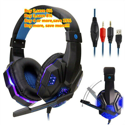 LED Gaming Headset With Mic Stereo 3.5mm Headphones For PC PS4 Slim Pro XboxOne= • 11.58£