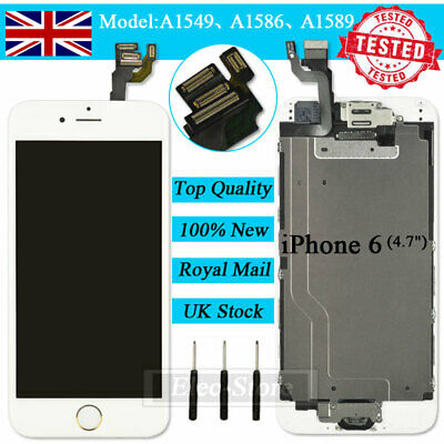 For IPhone 6 White 4.7  Screen Replacement Digitizer LCD Home Button Camera UK • 13.92£