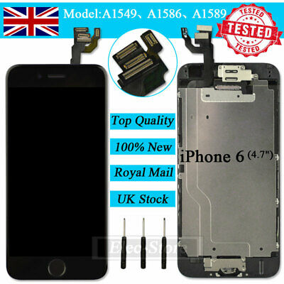 For IPhone 6 Black Retina LCD Screen Replacement Touch Digitizer Camera Button • 14.92£