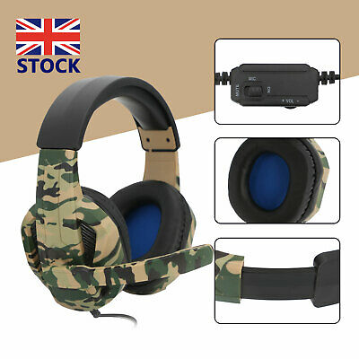 Gaming Headset Camo Stereo Headphone For NS PS4 Pro Xbox One Laptop 3.5mm W/ Mic • 14.89£