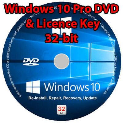 Windows 10 Professional Pro 32-bit DVD Cd Disc And License Key Code Bootable • 9.45£
