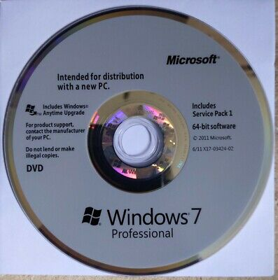 Genuine Windows Pro 7 64 Bit Physical Disc - Full Installation OR Upgrade Any PC • 15£