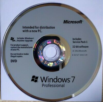 Genuine Windows Pro 7 32 Bit Physical Disc - Full Installation OR Upgrade Any PC • 15£