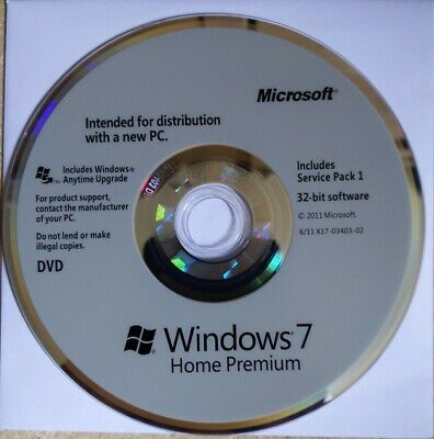 Genuine Windows 7 Home Premium 32 Bit Disc - Full Installation OR Upgrade Any PC • 15£
