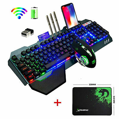 Wireless Keyboard And Mouse Rainbow LED Backlit Rechargeable For PS4 PC Gamer UK • 38.99£