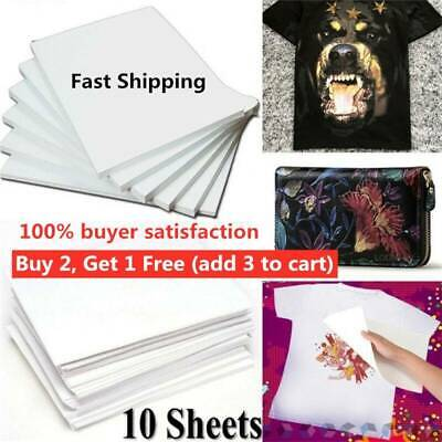 10Pcs A4 Heat Transfer Paper For DIY T-ShIrt Painting Iron-On Paper Light.Fabric • 2.14£