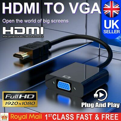 HDMI INPUT To VGA OUTPUT – HDMI To VGA Converter Adapter For PC DVD TV Monitor • 3.19£