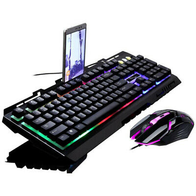 PC Laptop Gaming Wired USB LED Keyboard & Mouse Set  For PS4 Xbox One 360 Window • 19.99£