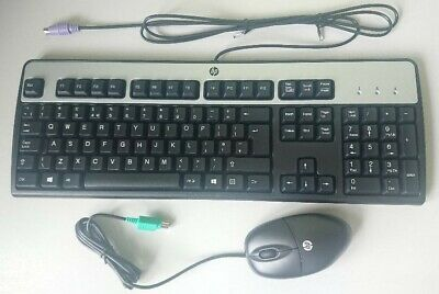 HP UK QWERTY Keyboard & Optical Mouse PS/2 NEW Black/Silver BOXED • 12£