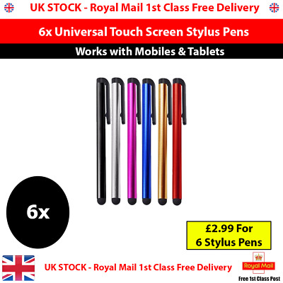 6 X Universal Touch Screen Stylus Pens For All Mobile Phone IPad IPhone Tab UK • 2.99£