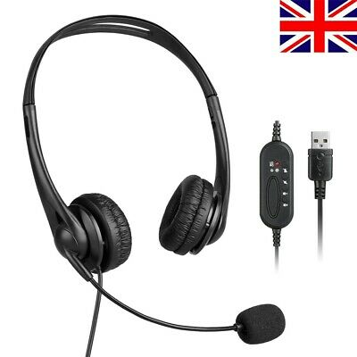 Headsets Wired With MIC USB Microphone Call Computer For PC Laptop Headphones UK • 11.39£