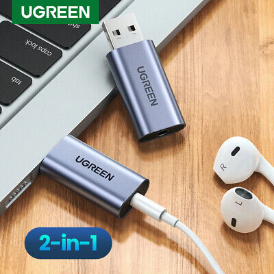 Ugreen Sound Card Adapter USB To 3.5mm Audio Stereo Aux External Converter  • 15.99£
